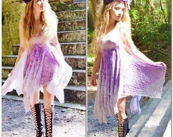L Lace summer sundress, Gypsy soul lace midi dress, Boho style dress, Bohemian gypsy spell dress, Lilac n pink dresses, true rebel clothing