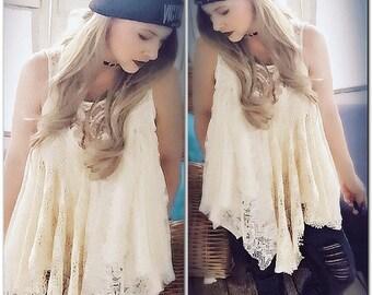 L Boho crochet Lace Spell Gypsy fortune teller tunic top, lacey junk gypsy, Stevie Nicks Style Gypsy crochet, gypsy soul True rebel clothing