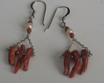 Vintage Sterling  Coral Dangle  Earrings