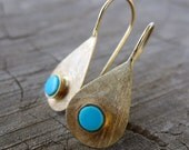 Rain Drop Earrings. Turquoise 14K Yellow Gold Dangle Earrings. Winter Inspired Jewelry. December Birthstone. Recycled Hand Made Eco Friendly