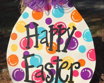 Polka-dot Easter Egg Door Hanger