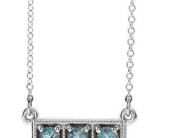 14kt Gold 3 Stone Aquamarine Bar Necklace, Aqua Bar Necklace, Birthstone Bar Necklace, March Birthstone Necklace, Layering Necklace