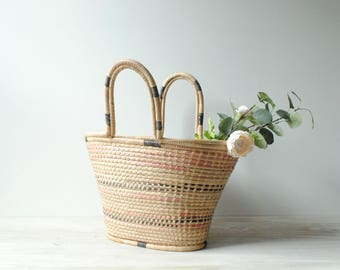 Vintage Market Tote Bag, Farmer's Market Bag, Large Straw Basket, Straw Bag