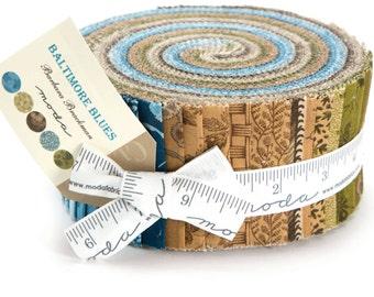 "Baltimore Blues Jelly Roll by Barbara Brackman for Moda Fabrics 8340JR 40 2.5"" x 42"" Fabric Strips"
