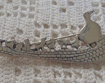 Vintage Brooch Mother Duck and Ducklings M Ltd. Sterling Silver