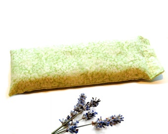 Lavender eye pillow, green, flaxseed eyemask, relax meditation yoga soothing, hot cold pack, teacher gift, aromatherapy gift under 15