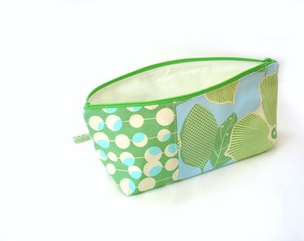 Cosmetic bag pencil case, modern green aqua print, large zipper pouch for makeup or craft project bag