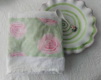 Gorgeous Pink Shabby Roses On Pistachio French Script Fabric Trimmed Flour Sack Pink and Green Towel Kitchen Towel Tea Towel All Cotton