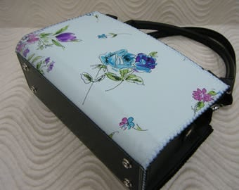 Blue Roses Handmade Shell To Cover Magnetic Bag Purse (not a slipcover complete shell with magnets)