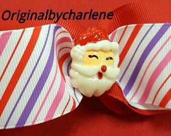Boutique Santa Stripe Hairbow