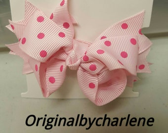 Boutique Powder Pink with Hot Pink Dots Hairbow