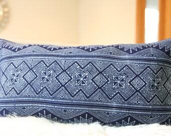 """12x22"""" Lumbar Dark Indigo Hmong, Pillow Cover Indigo , Indigo fabric, Hmong Pillow, Hmong textile, Bohemian Pillow, Indigo Batik"""