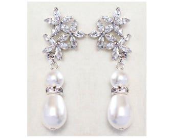 Silver Crystal Bridal Earrings, Swarovski Pearl wedding earrings, Crystal flower Bridesmaids Bridal Earrings -Mila floral Earrings