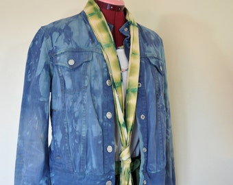 """Teal Green Small Cotton JACKET - Blue Green Dyed Upcycled Gap Cotton Denim Cropped Trucker Jacket - Adult Womens Size Small (38"""" chest)"""