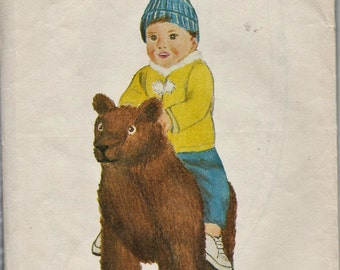Build N Sew 3 / Vintage Riding Toy Sewing Pattern With Woodworking Plans / Large Stuffed Bear