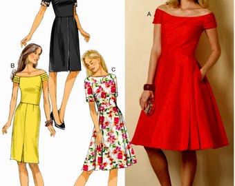 Misses' Dress Pattern, Flared Dress Pattern, Straight Dress Pattern, Butterick Sewing Pattern 6129