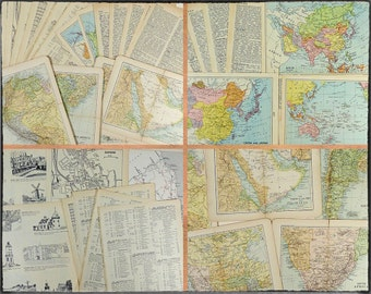 Vintage paper ephemera 22 pcs, old colour maps, illustrations, historic buildings, gazetteer pages, itineraries, aged pages for art or craft