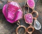 Pink Druzy pendant for tduongwagner, ThePurpleLilyDesigns