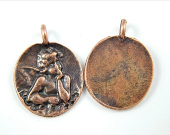 Copper Guardian Angels Christian Medal - Vintage Style Angel Charms - Religious Charms - Rosary Supplies
