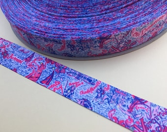 "7/8"" Ribbon Virginia Grosgrain Ribbon Pink Purple Blue Print"