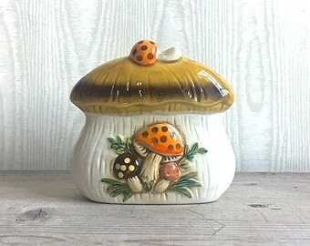 Sears Merry Mushroom Napkin Holder Ceramic 1978 Mod Brady Bunch Wonder Years