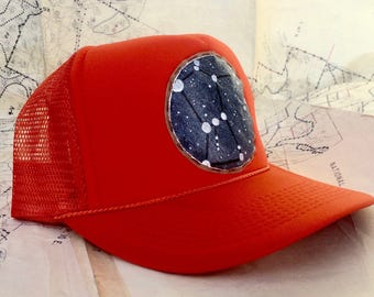 Orion The Hunter constellation patch on hunter orange trucker hat