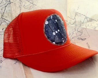 Orion The Hunter constellation patch on hunter orange trucker hat