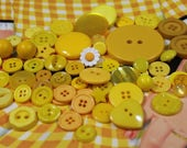 Yellow Plastic Buttons 62 Neon Bright Yellow New and Old Plastic Crafting Buttons