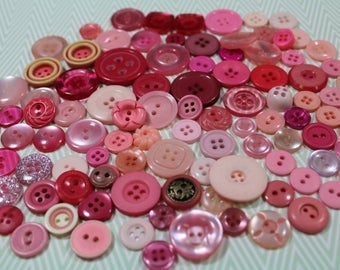 Pink Plastic Buttons 100 Shades of Pink Plastic New and Old Sewing Crafting Buttons