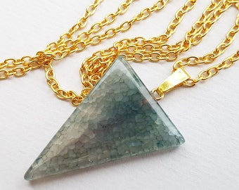 Dark Gray Blue Cracked Agate Triangle Necklace, Blue Necklace, Blue Agate, Geometric Necklace, Quality Semi Matte Gold Plated Chain