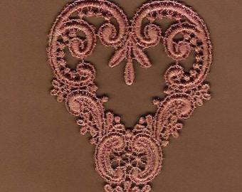 Hand Dyed Venise Lace Applique Victorian Heart Aged Mauve Rose
