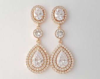 Wedding Earrings Rose Gold Crystal Earrings Bridal Jewelry Crystal Teardrop Earrings Rose Gold Bridal Earrings, Joni  Earrings