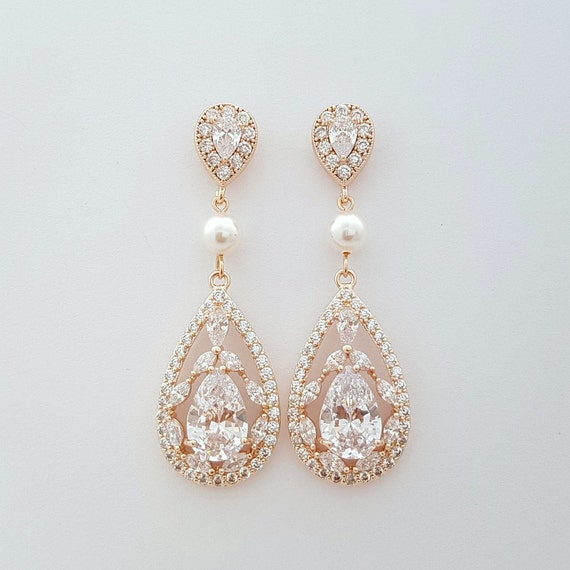 gold bridal earrings wedding jewelry cubic