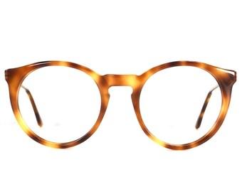 vintage 80s amber tortoise shell brown deadstock round oversize eyeglasses french designer retro frame plastic eye glasses eyewear smart 191