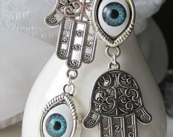 Asymmetrical Earrings Eyeball Earrings Hand of Fatima Earrings Blue Eyes Evil Eye Jewelry Summer Fashion Earrings Mismatched Earrings
