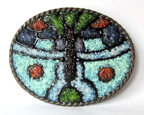 Butterfly Buckle, Stained Glass Mosaic Art, Woman's Belt Buckle,Antiqued Bronze Buckle, Death Head Moth, One of a Kind