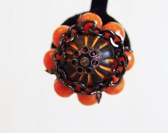 ON SALE Pretty Vintage 1960's Tangerine Bead & Filigree Earrings Hong Kong