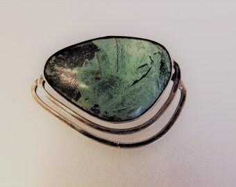 Vintage Sterling Eliat Stone Modernist Brooch Made in Israel Reuven