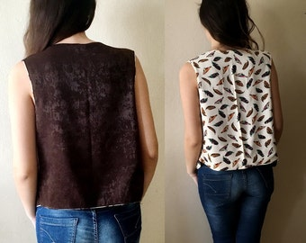 Women's Waistcoat,Versatile Vests Bird and Feathers print coat Bohemian Two Faced Vest Size M