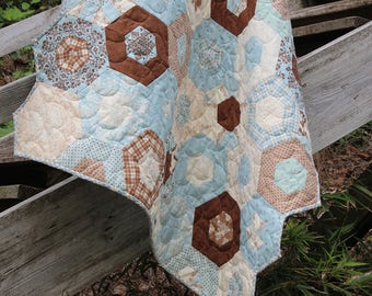 Baby Boy Quilts / Custom Handmade Quilts / Quilts / Bunny Rabbit Quilt / Blue and Brown Quilt /  Quilts for Boys / MADE TO ORDER
