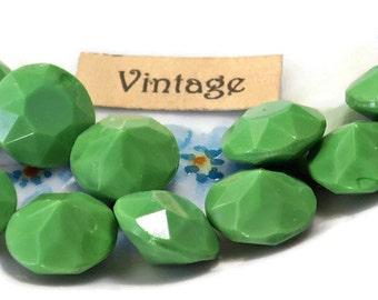 Vintage Cabochons Rhinestones 11mm Round NOS Chartruese Green peridot Faceted Milk ( 1673CM)