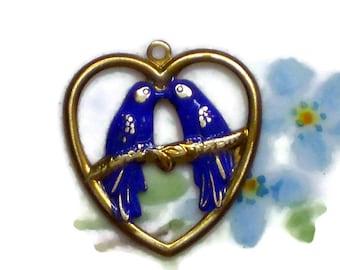 Vintage brass Charm Birds Patina Cobalt Blue Bird Bluebird Heart Kissing. 1381R
