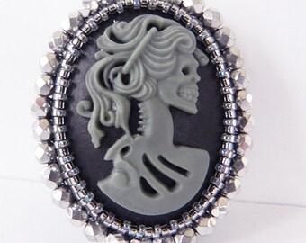 Cameo Brooch Lolita Skull Girls Resin Cameo in Grey and Silver Crystals