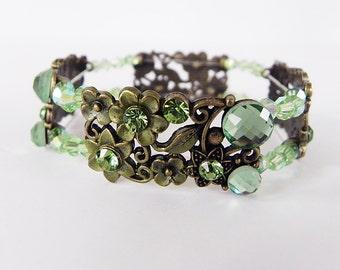 Bracelet Victorian Style Stretch Bracelet in Brass Enamel and Green Crystals