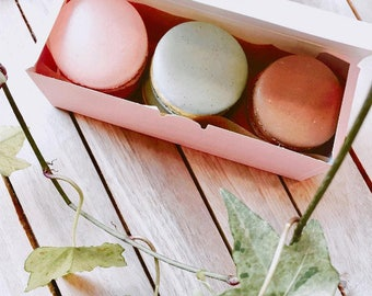 12 Macaron boxes in pink (6 holding type)