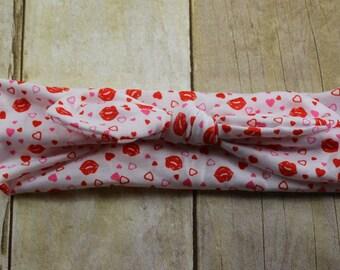 Baby Headband - Valentine Headband, Knot Head Wrap, Baby Headband, Baby Knot Headband,  Knot Headband, SIZE 6 months-adult-Kisses