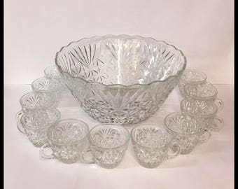 Large Heavy Glass Punch Bowl Set, 11 Cups, Hooks, Anchor Hocking, 9.50 Lbs., Arlington Pattern, Vintage 1960's 1970's