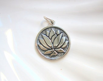 Sterling Silver Lotus Charm - Add On - Yoga Inspired - Etched Disc Charm