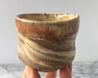 Simple cup, marbled tea cup yunomi tumbler, wabi sabi stoneware drinking vessel with clear liner glaze