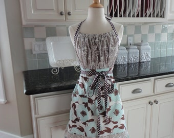 Hibiscus in Choclate Brown and Aqua Blue ~ Gathered Gabrielle - 4RetroSisters Womens Full Apron